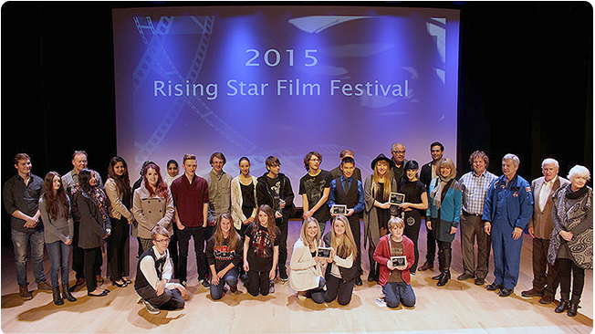 Winners and judges of the 2015 Rising Star Film Festival at Robert Thirsk High School.