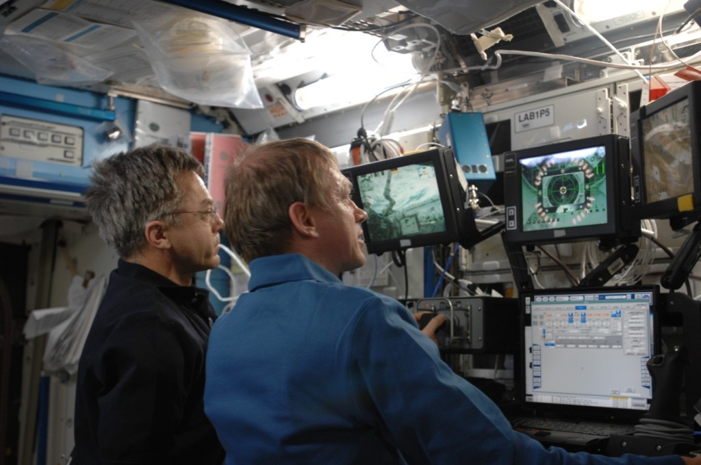 The Robotic Workstation aboard the ISS from which the Canadarm2 is controlled by astronauts.