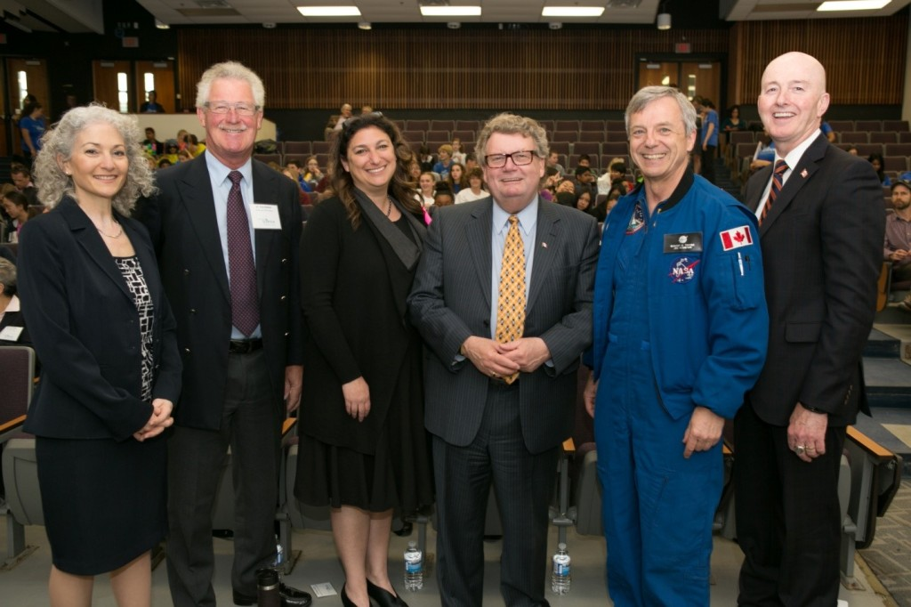 Bonnie Schmidt (founder and president of Let's Talk Science), Rick Dobson (chair of Let's Talk Science board), Allison Sekuler (Dean of Graduate Studies, McMaster University), Ed Holder (Minister of State for Science and Technology), me and David Sweet (Chair of the House of Commons Standing Committee on Industry, Science and Technology)