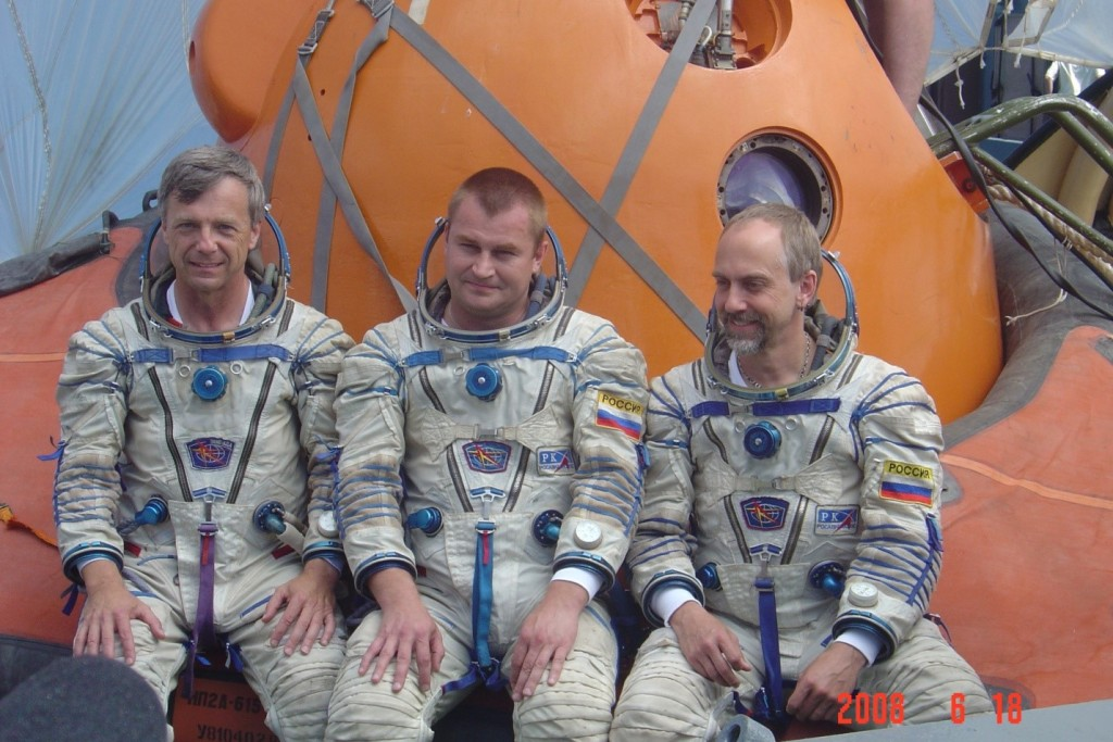 Me, Alexey Ovchinin and Richard Garriott de Cayeux prior to the start of our training exercise.