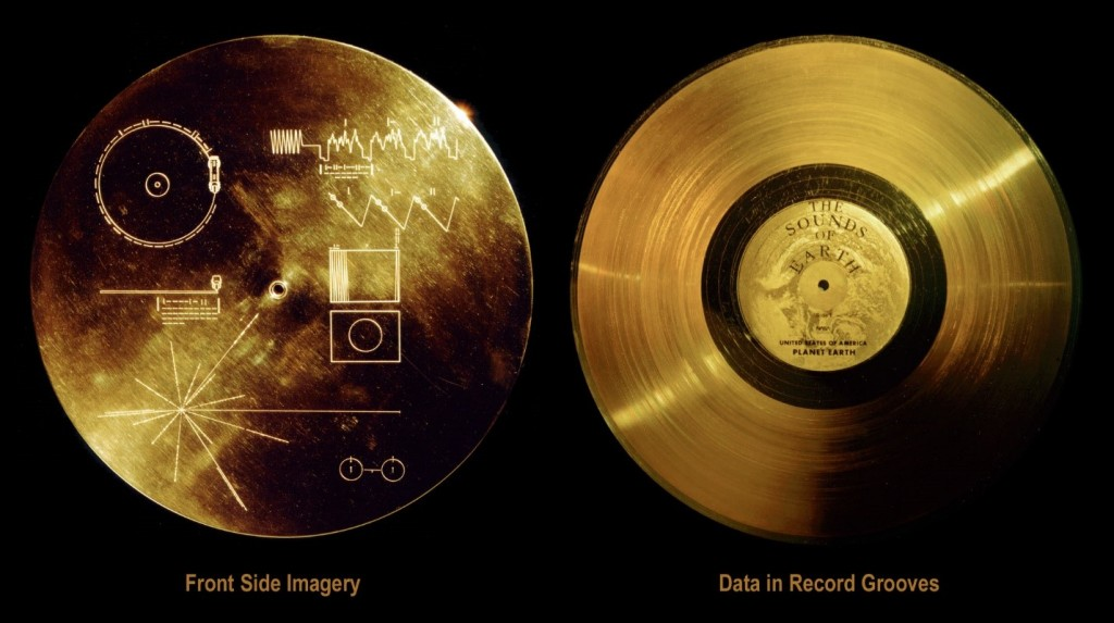 The golden record on each Voyager spacecraft contains recorded sounds, greetings and music of earthlings.