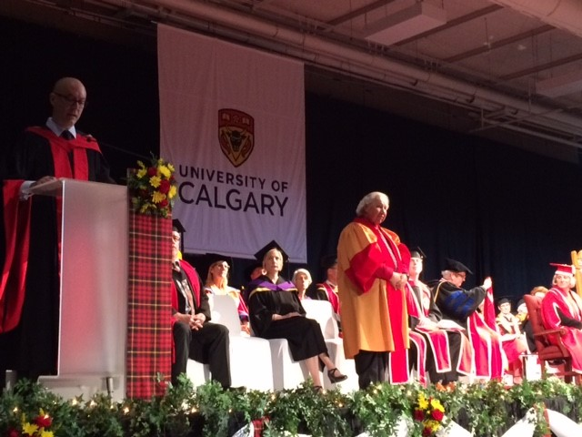 Professor Patrick Finn delivering the citation for honorary Doctor of Laws recipient, Senator Murray Sinclair.