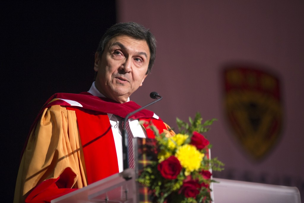 David Naylor was awarded an honorary degree during the University of Calgary Convocation on November 10, 2017. Photo credit: Colleen De Neve